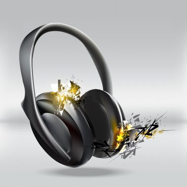 Vector illustration of abstract headphones. stock vector