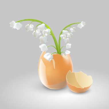 Vector illustration of a lilies of the valley in eggshell. stock vector