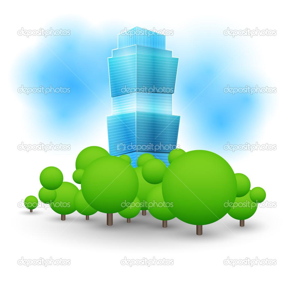 Green landscape with skyscraper. stock vector