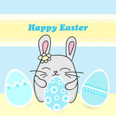 Happy Easter Card with Easter Bunny - Vector Illustration