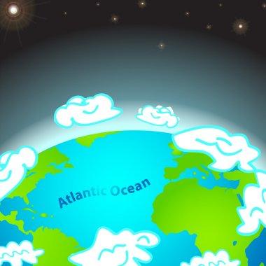 Illustration of Atlantic ocean on Earth stock vector