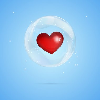 Vector illustration of a heart in bubble. stock vector