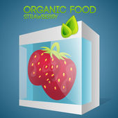 Vector illustration of strawberries in packaged. Organic food concept.
