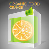 Vector illustration of orange in packaged. Organic food concept.