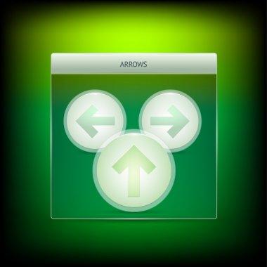 Three green vector arrows stock vector