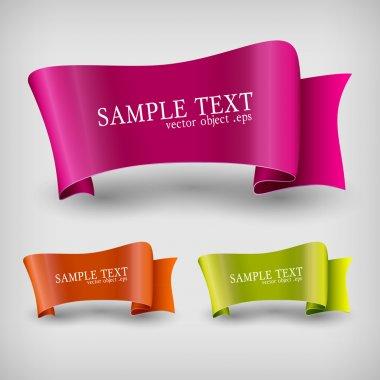 Vector set of ribbon labels. stock vector