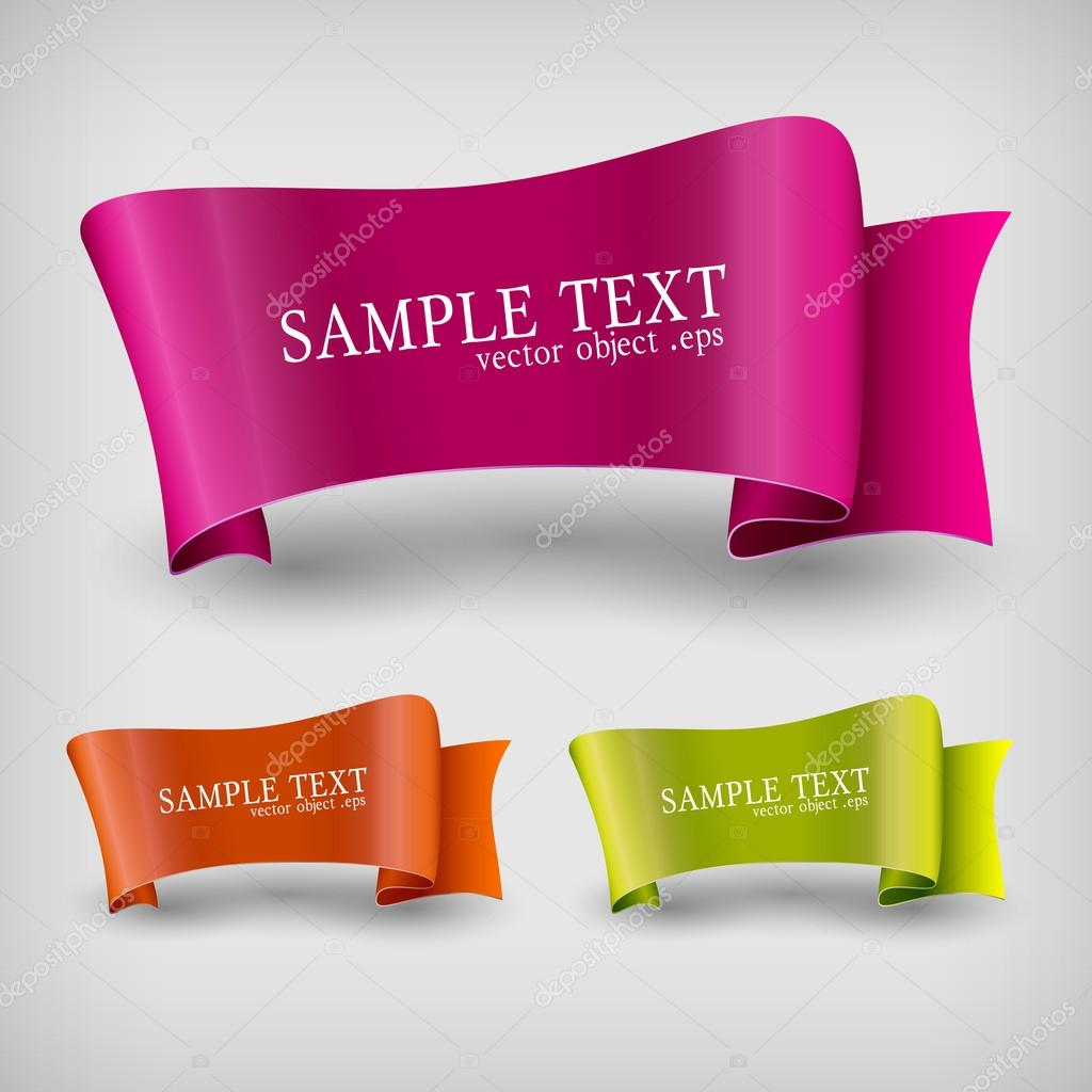 Vector set of ribbon labels. stock vector