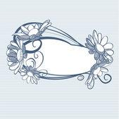 modré pozadí s květy sedmikrásky, vektorové