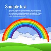 Vektor rainbow, a felhők és a zöld fű