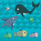 Illustration verschiedener Fische im Meeresvektor