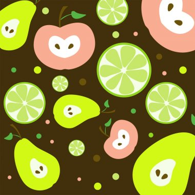 Fruits Seamless Pattern - Vector Illutration stock vector