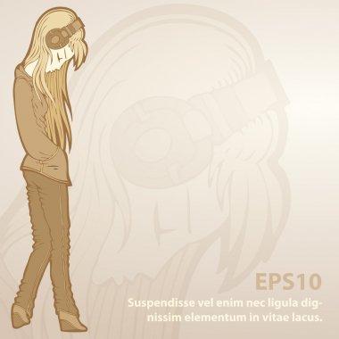 Vector background with girl in headphones. stock vector