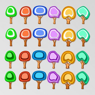 Icons of colorful trees. Vector set. stock vector