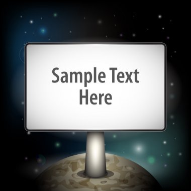 Vector planet with board for your text stock vector