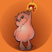 Brown teddy bear with a golden bell - vector illustration