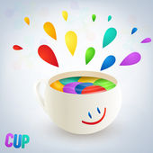 Colorful burst from a cup with a smile