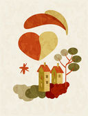 Illustration of house on Valentines Day