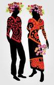 Paar mit Blumenkranz - Vektorillustration