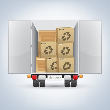 Delivery truck with boxes - vector illustration stock vector