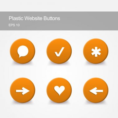 Plastic website buttons with icons stock vector
