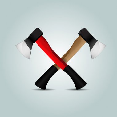 Two crossed axes - vector illustration stock vector