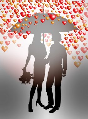 Couple under umbrella on Valentines Day stock vector