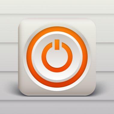 Vector orange power button. stock vector