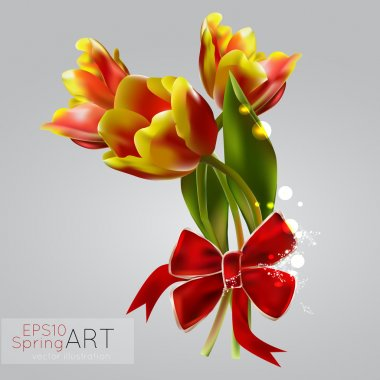 Spring background with tulips. Vector illustration. stock vector