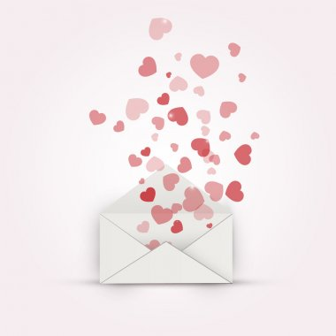 Vector illustration of envelope with hearts. Vector illustration. stock vector