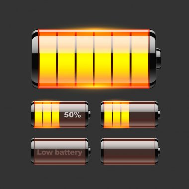 Vector set of battery charge. stock vector