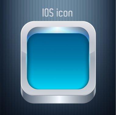 Vector blue square button. stock vector