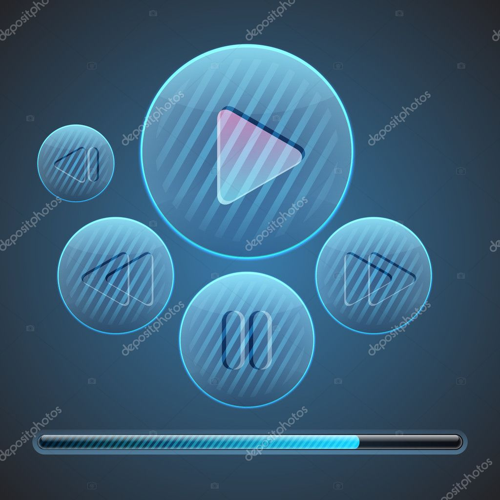 Vector round media player buttons. stock vector