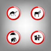 Állati figyelmeztető jelek - vektor-illusztráció