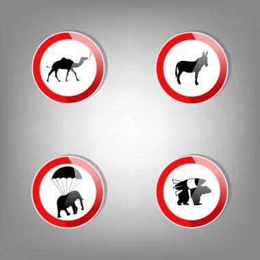 Animal warning signs - vector illustration stock vector