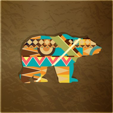 Bear decorative ornament. Silhouette of animal with colourful pattern stock vector