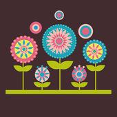 Vektor-Illustration von Blumen auf dem dunklen Hintergrund