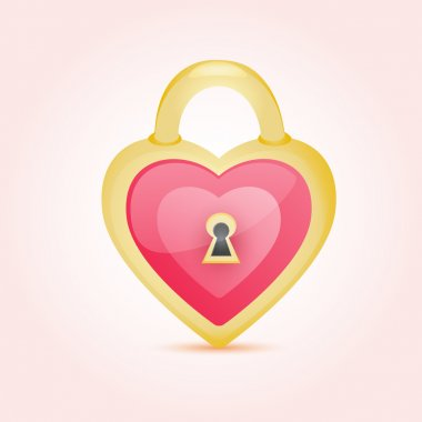Decorative Golden Lock - Heart Shaped stock vector