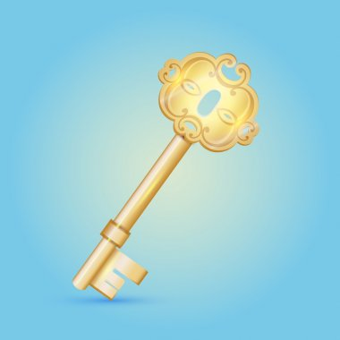 Vintage vector golden key on the blue background stock vector