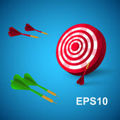 Colorful darts with a target. Vector illustration.