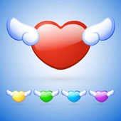 Hearts with wings. Vector set of buttons.