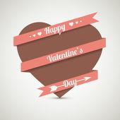 srdce s mašlí. vektorové přání na Valentýna.