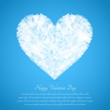 Glass broken heart. Vector greeting card for Valentine's day. stock vector