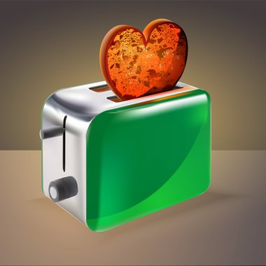 Toaster with heart shaped toast. Vector illustration. stock vector