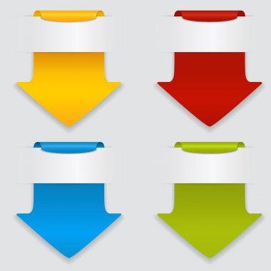 Vector set of colored arrows. stock vector