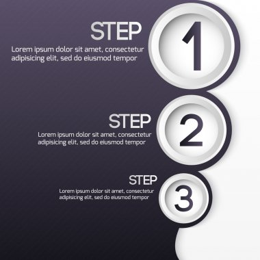Buttons for one two three steps. Vector set. stock vector