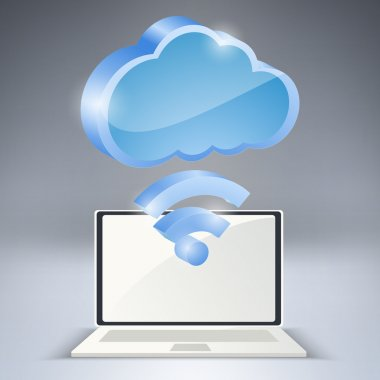 Laptop and wireless network cloud. Vector illustration. stock vector