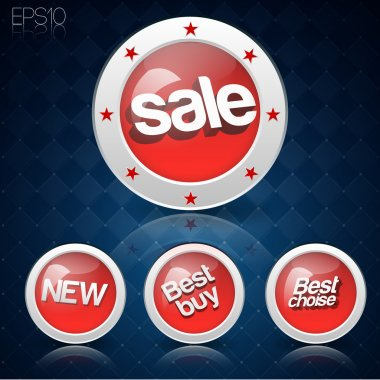 Vector set of buttons for sale.