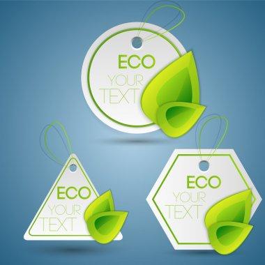 Vector set of eco labels. stock vector
