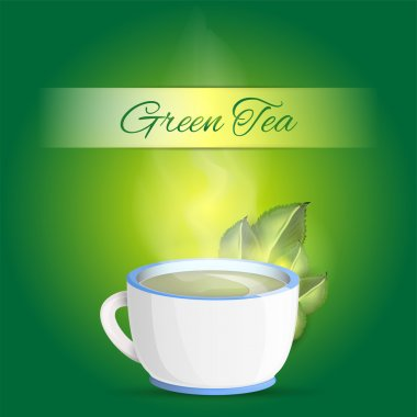 Cup of green tea background - vector illustration stock vector