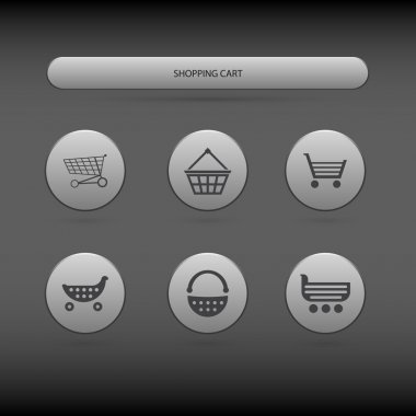 Simple icons of shopping carts and baskets stock vector